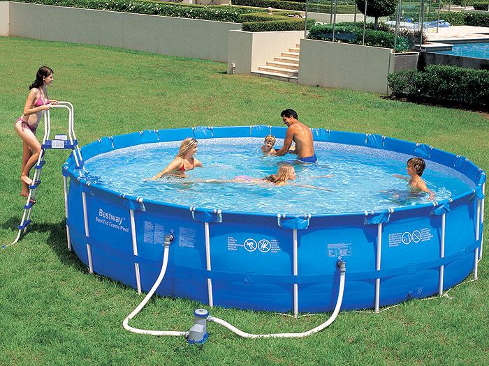 Каркасный бассейн без специальной площадки