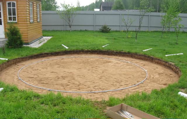 Площадка для каркасного бассейна