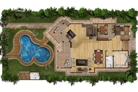 План участка с домом и бассейном